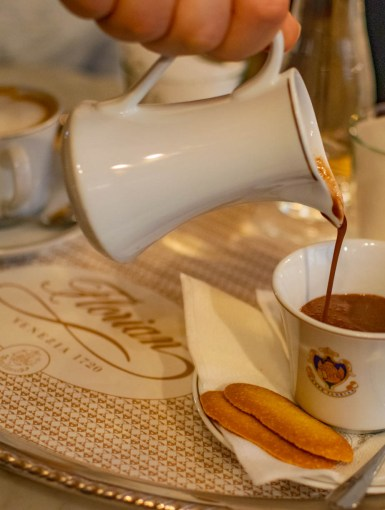 Hot chocolate in Caffe Florian, Venice, Italy