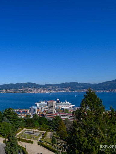 View over the cruise port of Vigo, Spain