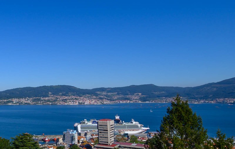 View over the cruise port of Vigo, Spain