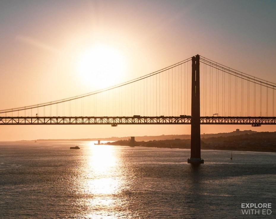 Cruising under the 25th April Bridge, Lisbon