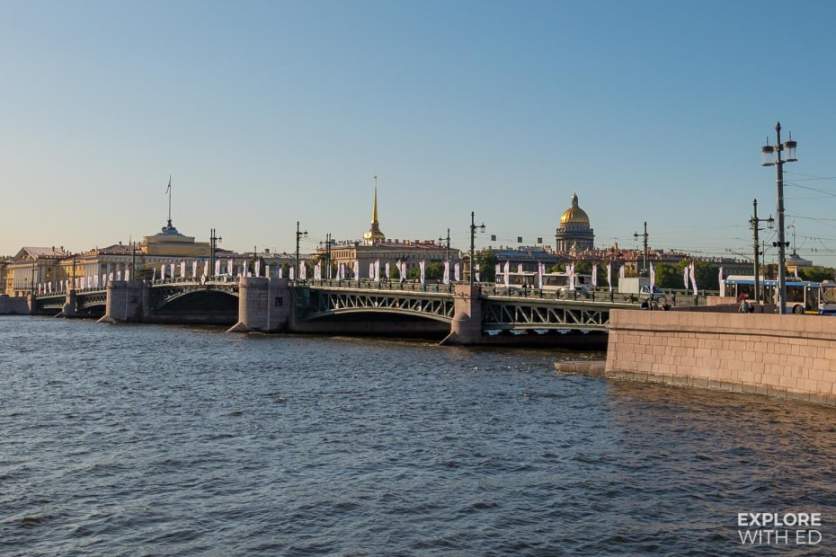 Palace bridge on the Neva river