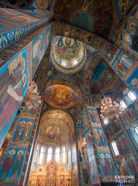 Mosaic art inside the Church on spilled blood, Saint Petersburg