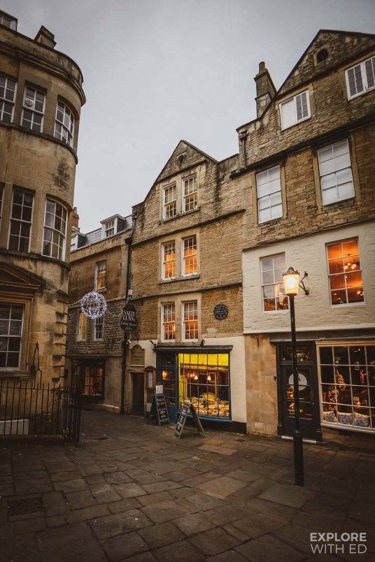 Historic street in Bath, Sally Lunn's Tea Room
