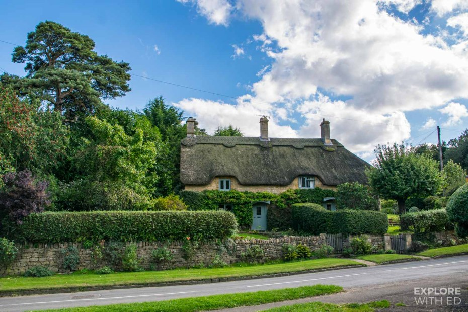 Quintessential cottages with thatched roofs in The Cotswolds