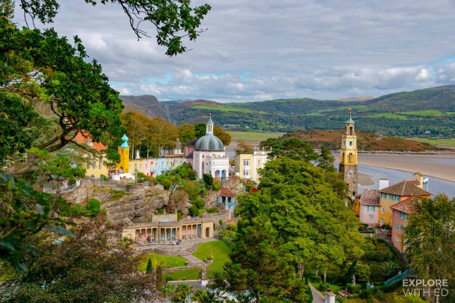 The hilltop view over Portmeirion Village