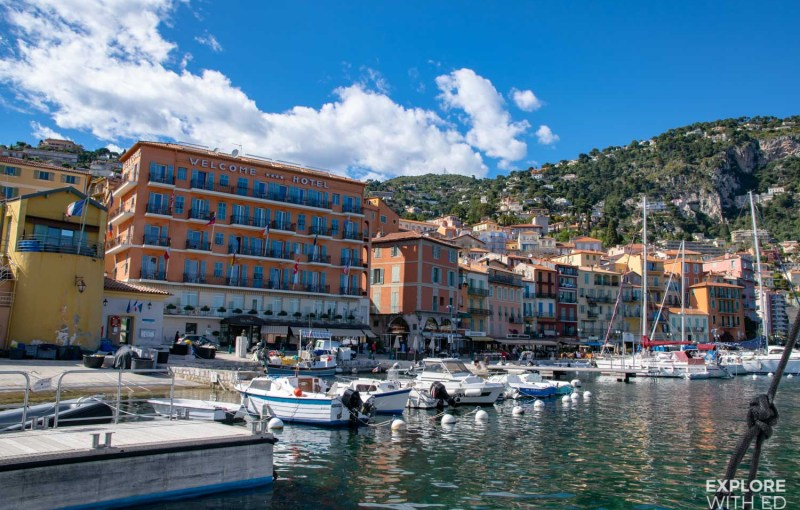 Arriving into the port of Villefranche-sur-Mer on a tender boat