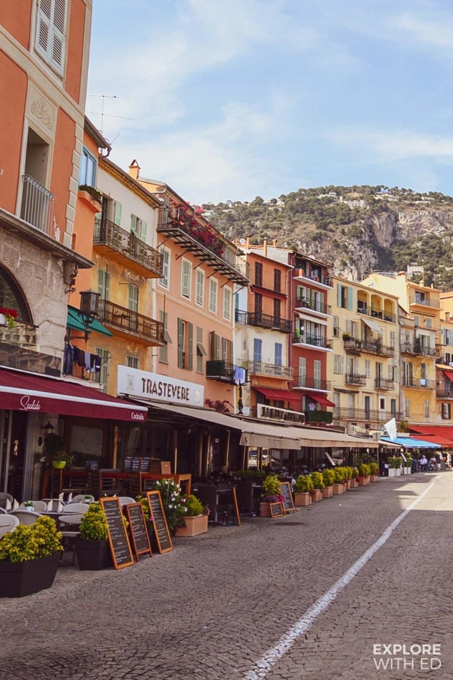 Port side seafood restaurants and cafes in Villefranche-sur-Mer