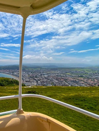 Llandudno Cable Car view over the town and promenade