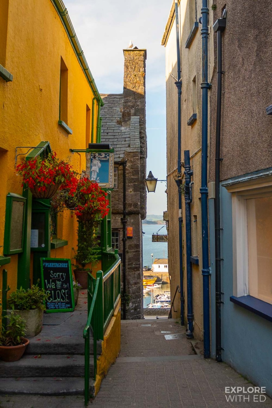Tenby side street view to harbour and Tudor Merchant's House