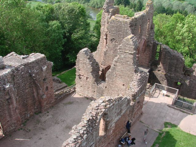 Aerial View of Goodrich Castle, looking onto Great Hall from top of Keep