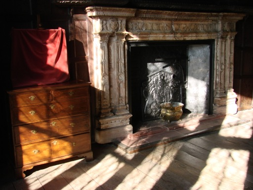 Fireplace in Kenilworth Castle, engraved with the initials of Robert Leicester