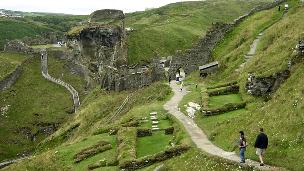 Tintagel Castle across island and mainland