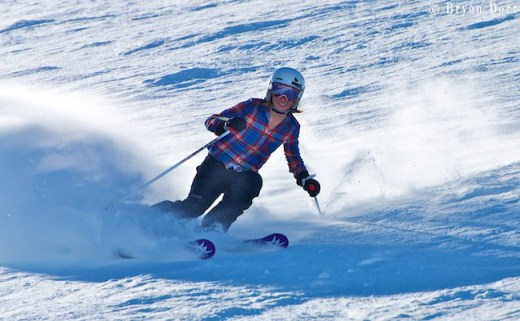 Amelia Richmond loves her PR job at Squaw Valley & loves to rip turns while showing off her resort.