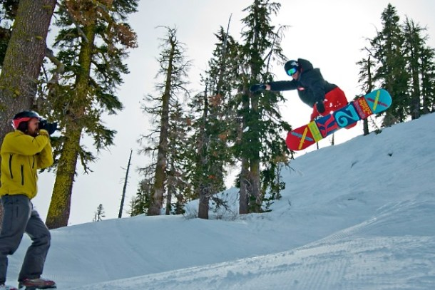 Moss Halladay rips on a snowboard! It was so fun to try to cature his mad skills in a photo. (Photo: Matt Gibson)
