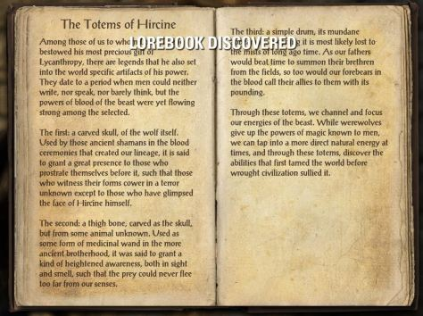 The Totems of Hircine - Craglorn Lorebook