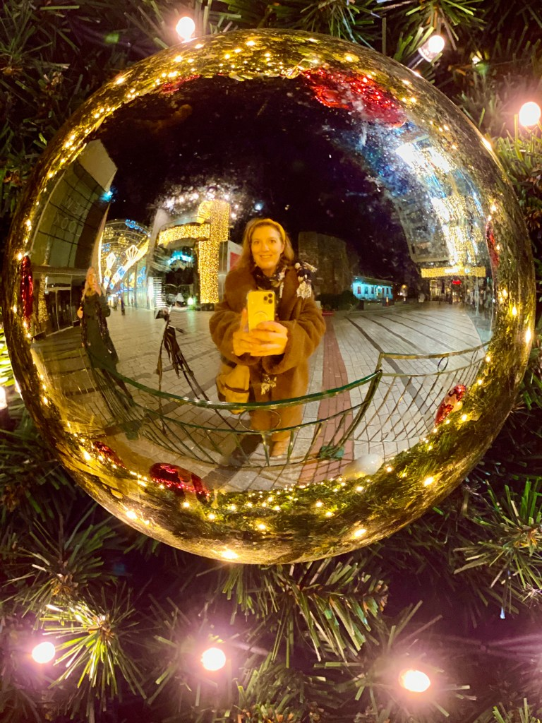 stephanie darkes in a bauble in princesshay, exploring exeter