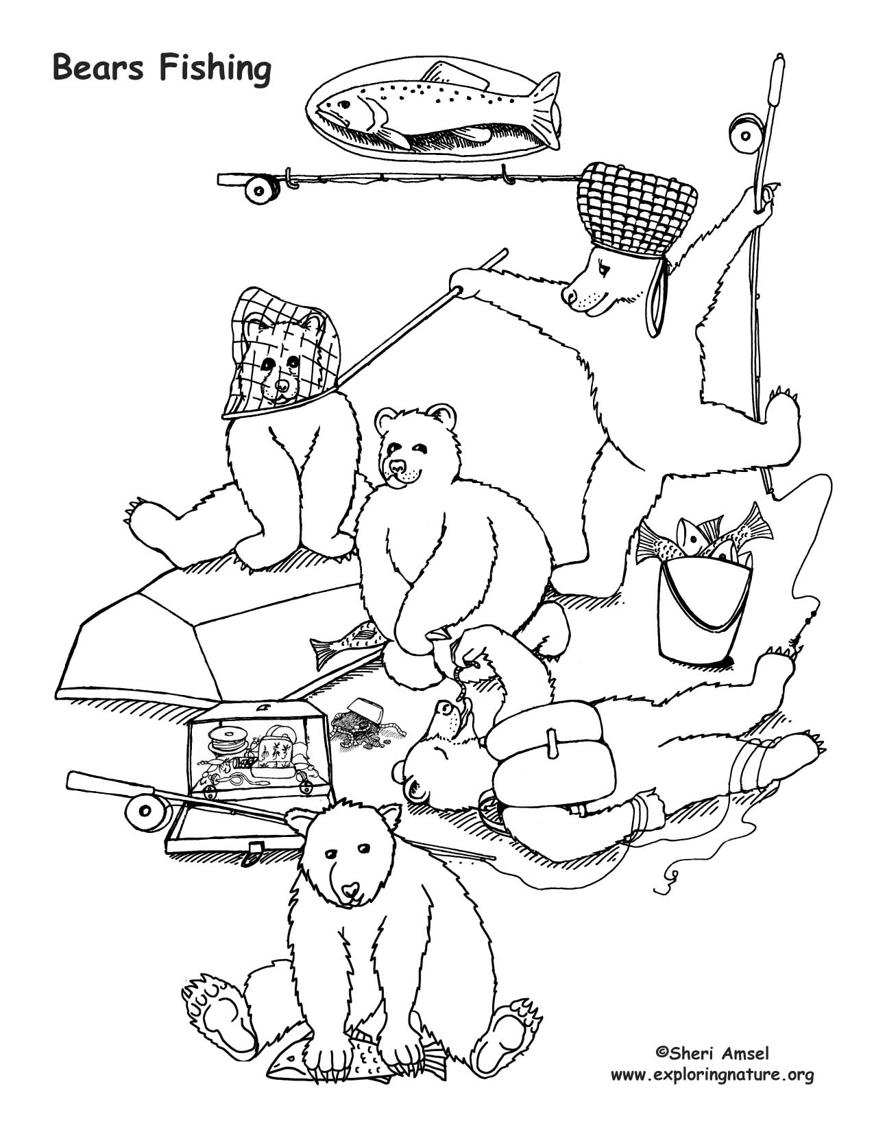 Bears Fishing Coloring Page
