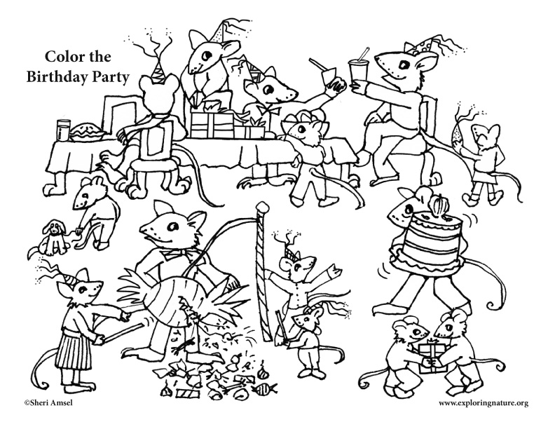 Mouse Birthday Party Coloring