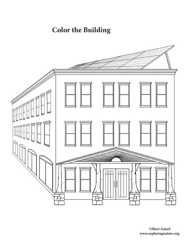 Building (Solar) Coloring Page