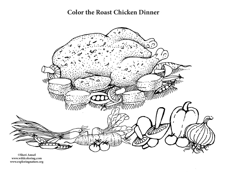 Roasted Chicken Dinner Coloring Page