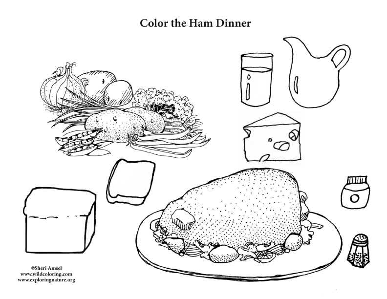 Ham Dinner Coloring Page
