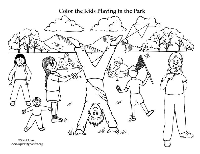 Kids Playing in the Park Coloring Page