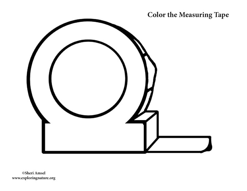 Tape Measure Clip Art Black And White Sketch Coloring Page