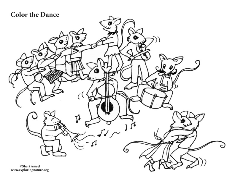 Mouse Dance Party Coloring Page
