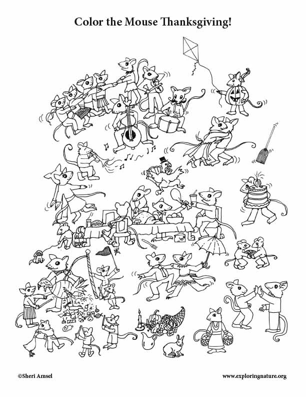 Mouse Thanksgiving Coloring Page
