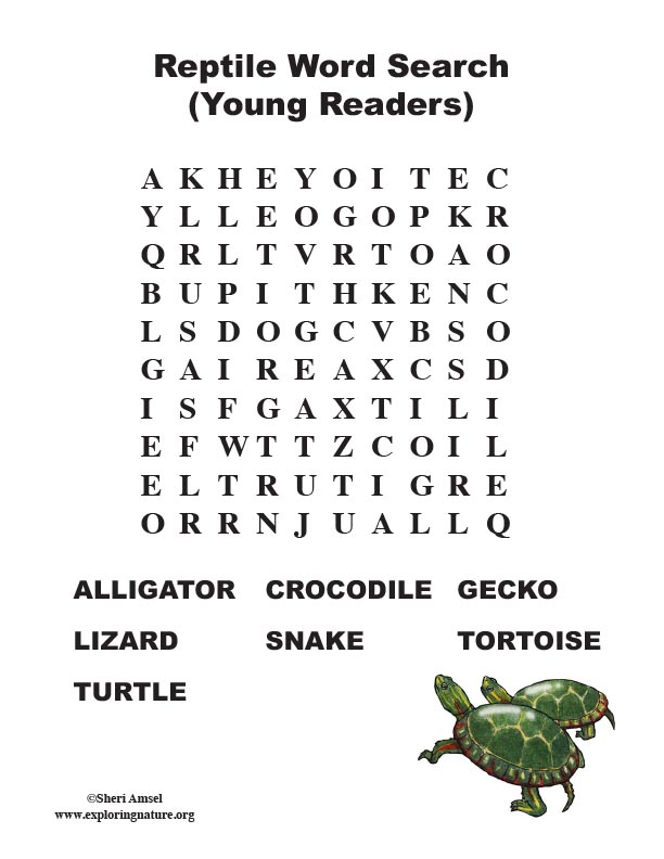Reptile Word Search (Primary)