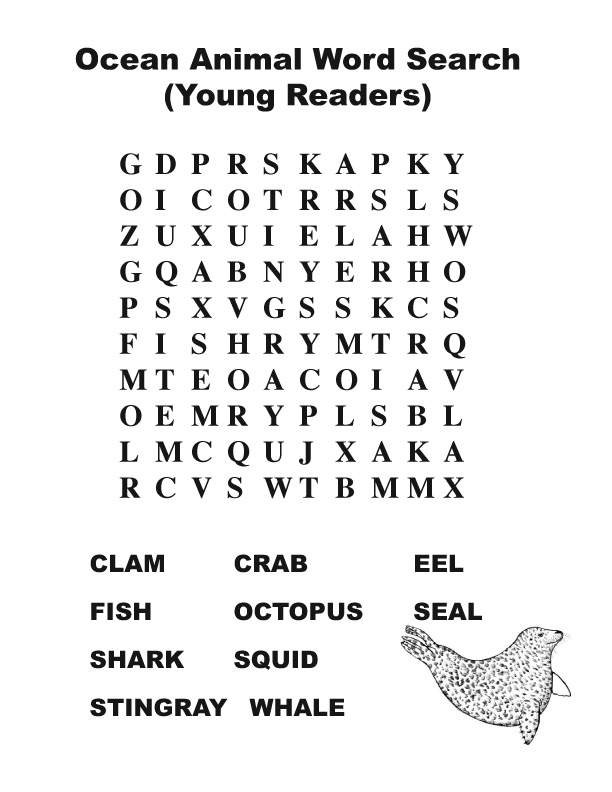Ocean Animal Word Search (Primary)