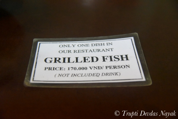 One item menu Grilled Fish only
