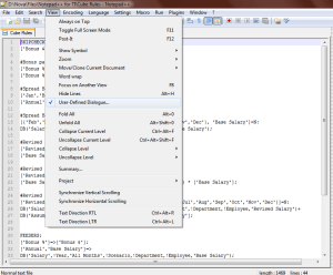 User Defined Dialogue - Notepad++