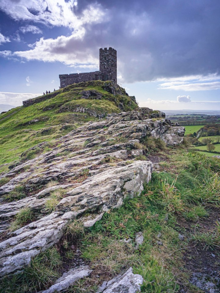 The rocky access to Brent Tor and Brentor Church