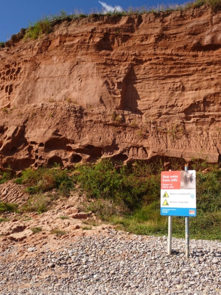 The cliffs are unstable, and rock falls are not infrequent. Not an ideal spot for a picnic.