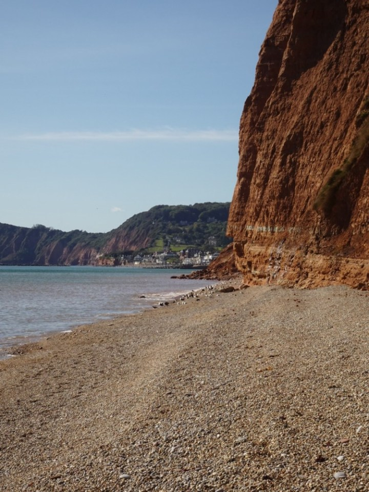 The collapsed cliff that blocks the beach path from Sidmouth and Salcombe Mouth Beach