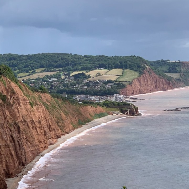Exploring the Jurassic Coast along the Triassic cliffs near Sidmouth