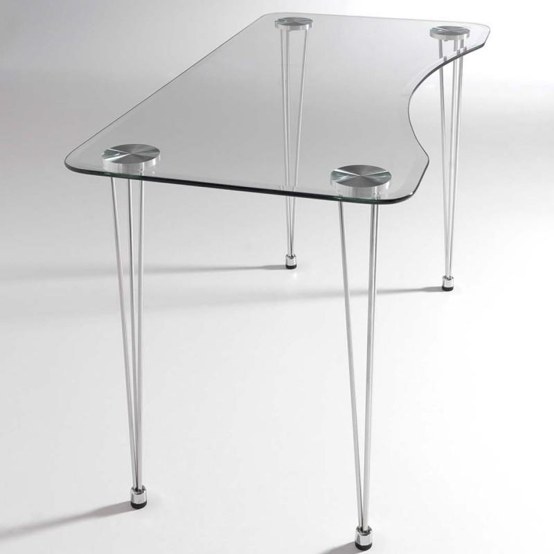 Mesa de cristal biselado LMARIES y estructura cromada para
