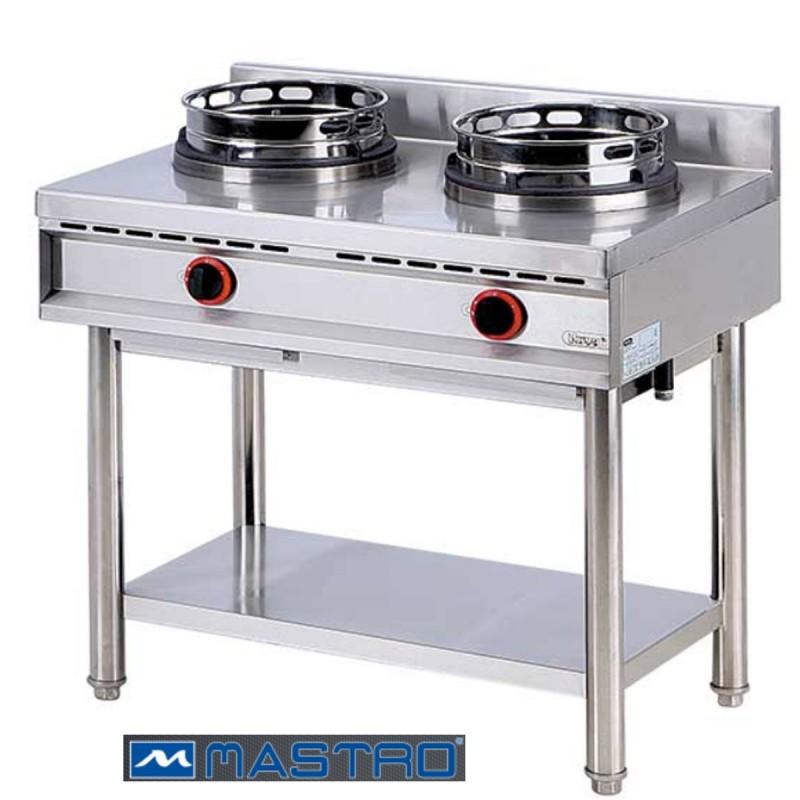 Cocina Wok de gas con estantera 2 fogones MTAHA0018