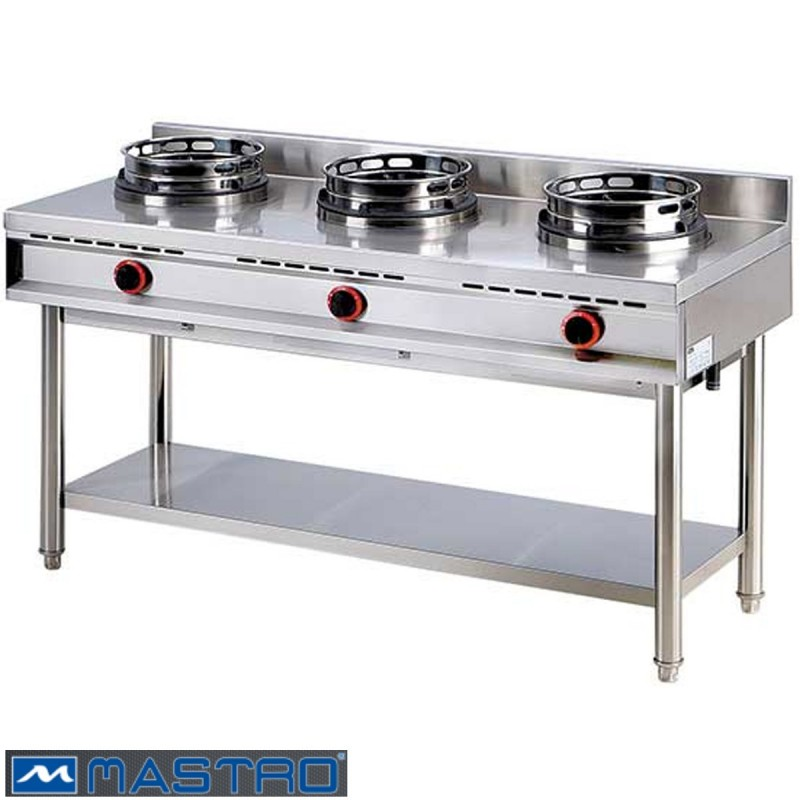 Cocina Wok de gas con estantera 3 fogones MTAHA0019