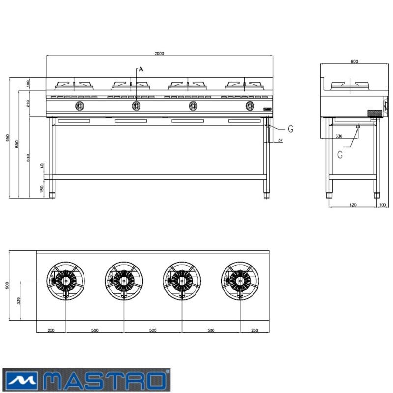 Cocina Wok de gas con estantera 4 fogones MTAHA0020