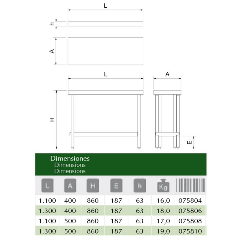 Mesa plegable de acero inoxidable con estante FR075804