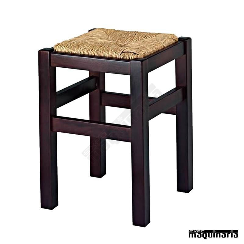 Taburete bajo bar madera asiento enea 1r9E