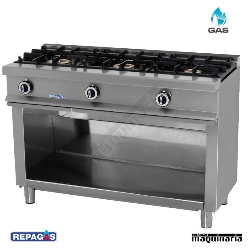 Cocina industrial de tres fuegos CG530 con mueble en acero