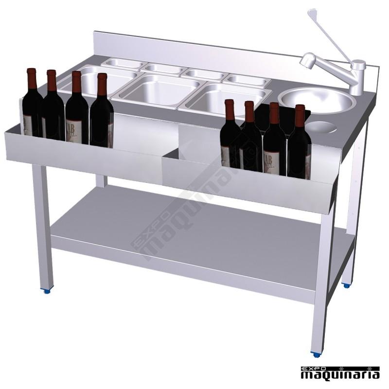 Mesa de Coctelera con 2 botelleros frontales de acero