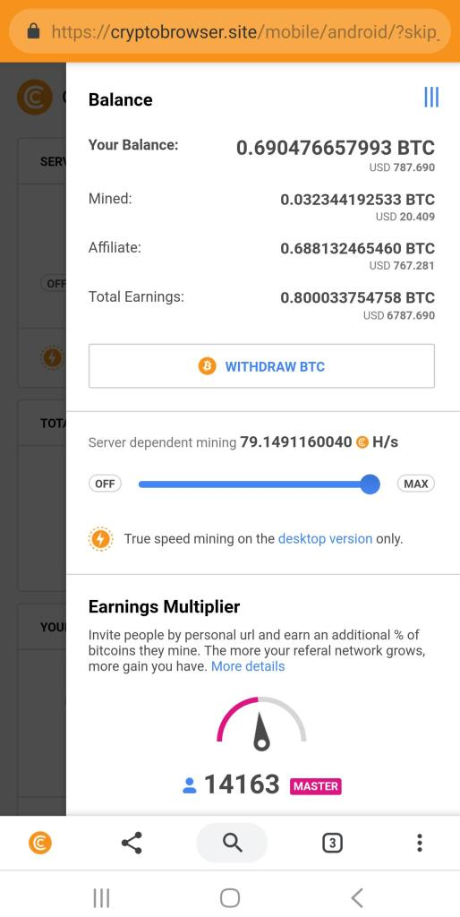 Earn in directly in Bitcoin with cryptotab browser