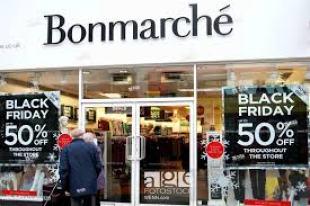 Vitrine Black Friday na loja Bonmarché