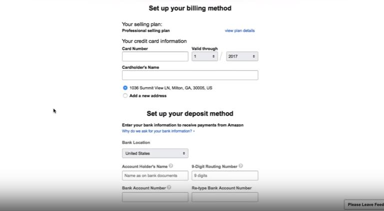 set up your billing and deposit method