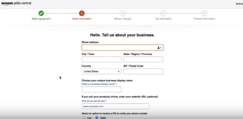 amazon registration seller registration information