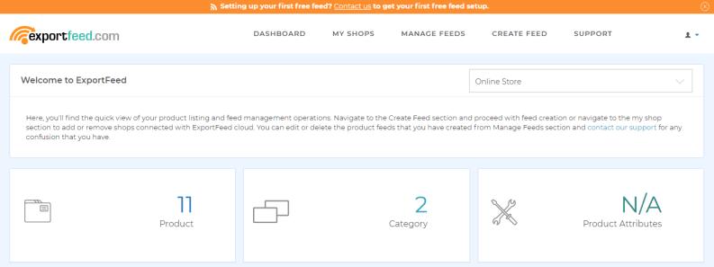 ExportFeed Dashboard for Ecwid